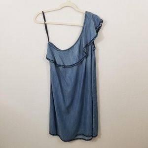 Cloth & Stone Chambray One Shoulder Ruffle Dress